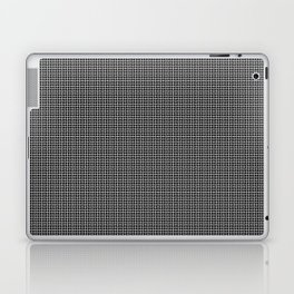 White and Gray Basket Weave Lines Pattern on Black Laptop & iPad Skin