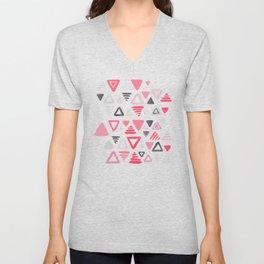 Summer Melon Hot Pink Triangles on Grey Unisex V-Neck