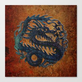 Blue Chinese Dragon on Stone Background Canvas Print