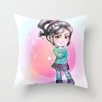 wreck it ralph Throw Pillows featuring Vanellope - Wreck-it Ralph by Claire