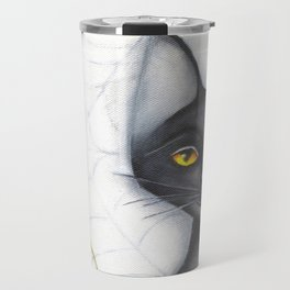 Black Cat  Punkin' And The Spider Autumn Painting Travel Mug