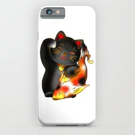 Right paw black maneki neko lucky cat with fish iPhone Case