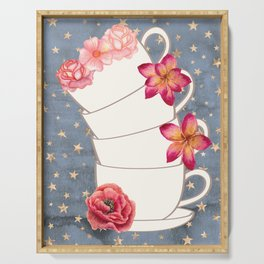 Floral Coffee Cups Serving Tray