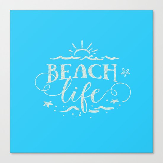 BEACH life - white Typography on Aqua for your summer - Mix & Match Canvas Print