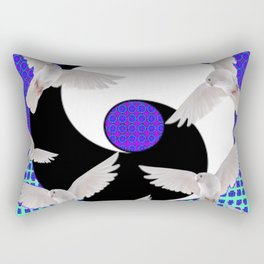 AQUA-LILAC FLYING DOVES Taoism/Daoism ART Rectangular Pillow