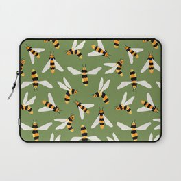 Friendly Gouache Bees on Forest Green - Scandi  Laptop Sleeve