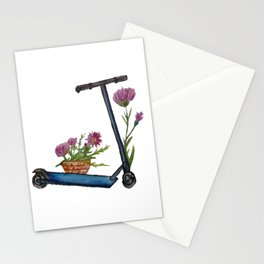 Push Scooter & Flowers Stationery Cards