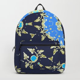 Golden and blue pattern Backpack