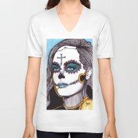 dia de los muertos V-neck T-shirts featuring Dia de los Muertos by Joseph Walrave