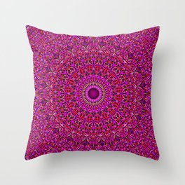 Deep Pink Garden Mandala Throw Pillow