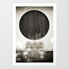 Jizo in Black and White, Kyoto Art Print