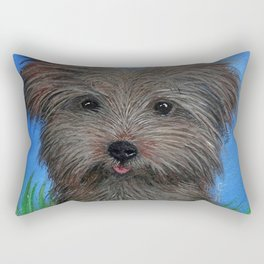 Scruffy Yorkie Dog Portrait Rectangular Pillow