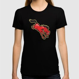 Red Horse Jumping Cartoon T-shirt