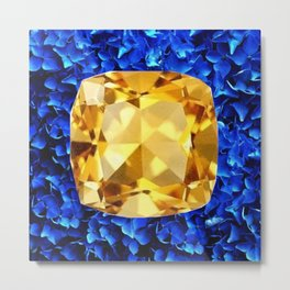 LARGE CHAMPAGNE TOPAZ GEM SEPTEMBER BIRTHSTONE ART Metal Print