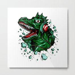 Dino with Headphones Green British Racing Metal Print