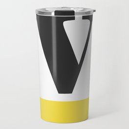 Monogram Letter V-Pantone-Buttercup Travel Mug