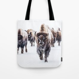 Bison Herd Through The Snow Tote Bag