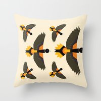 baltimore Throw Pillows featuring Baltimore Oriole  by Alysha Dawn