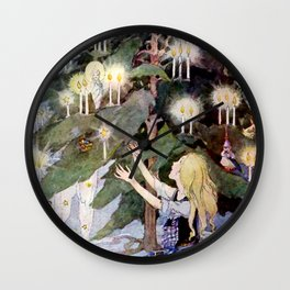 """""""The Little Match Girl"""" Vintage Art by Anne Anderson Wall Clock"""
