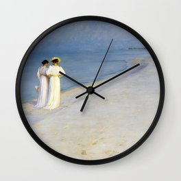 Peder Severin Kroyer - Summer Evening On The Souther Beach - Digital Remastered Edition Wall Clock