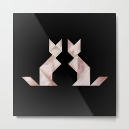 Tangram Cats Black & White Metal Print