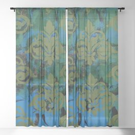 Moss Damask Sheer Curtain