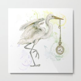 I'm late .. I'm late -  The white  heron said. Metal Print