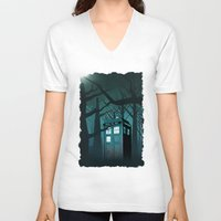 marauders V-neck T-shirts featuring Tardis in the Forest of The Night by neutrone