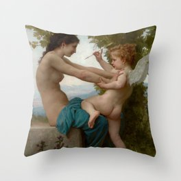"William-Adolphe Bouguereau ""A Young Girl Defending Herself against Eros"" Throw Pillow"