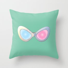 Blue and Pink Cat Eye Glasses Throw Pillow