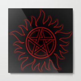 Anti Possession Sigil Red Glow Metal Print