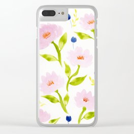 Pink Floral Watercolor Pattern Clear iPhone Case