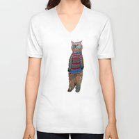 kitten V-neck T-shirts featuring kitten  by bri.buckley