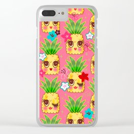 Happy Kawaii Cute Pineapples on Pink Clear iPhone Case