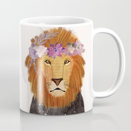 Lion with flowers on head Coffee Mug