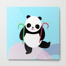 Candy Cane Panda Metal Print