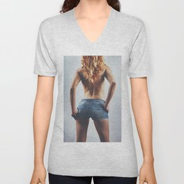 Sexy woman in Jeans hotpants. #B9340 Unisex V-Neck