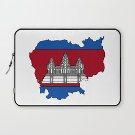 Cambodia Map with Cambodian Flag Laptop Sleeve