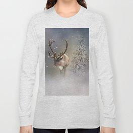 Santa Claus Reindeer in the snow Long Sleeve T-shirt