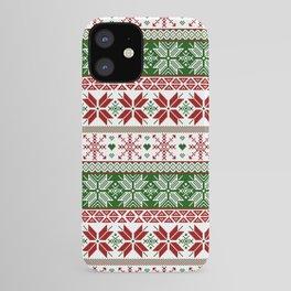 Green & Red Winter Fair Isle iPhone Case