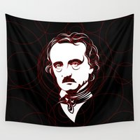 edgar allan poe Wall Tapestries featuring Edgar Allan Poe Circles Portrait by René Martin