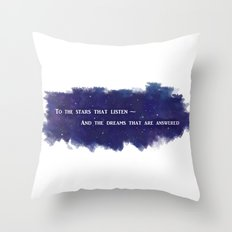 To the Stars that Listen (White) - A Court of Mist and Fury Throw Pillow