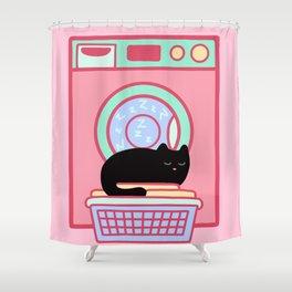 Cat Nap Black Kitten Shower Curtain