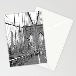 Brooklyn Bridge NYC [Black & White] Poster Print Stationery Cards