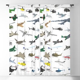 Various Colorful Airplanes and Helicopters Blackout Curtain
