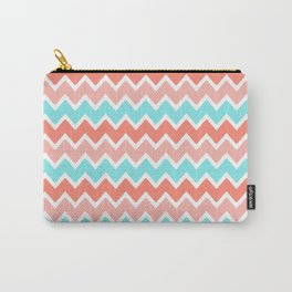 Coral Peach Pink and Aqua Turquoise Blue Chevron Carry-All Pouch