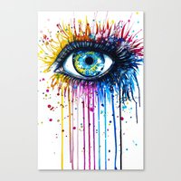 "rainbow Canvas Prints featuring ""Rainbow Eye"" by PeeGeeArts"