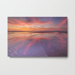 I - Beautiful sunset and reflections on the beach at low tide Metal Print