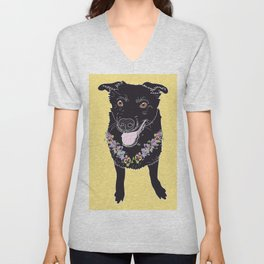 Happy Black Lab Dog Unisex V-Neck