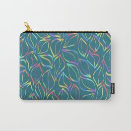 Rainbow Petals on Green Carry-All Pouch
